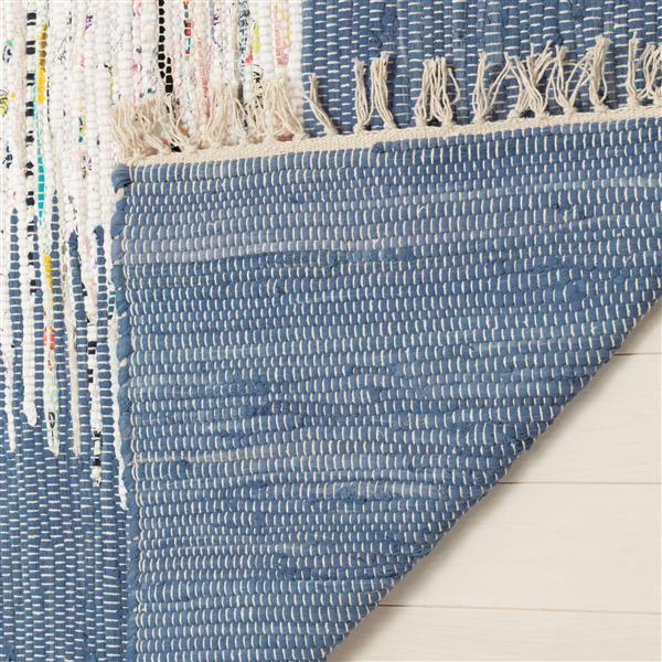 Safavieh Montauk Border Rug - 6' x 6' - Cotton - Ivory/Dark Blue