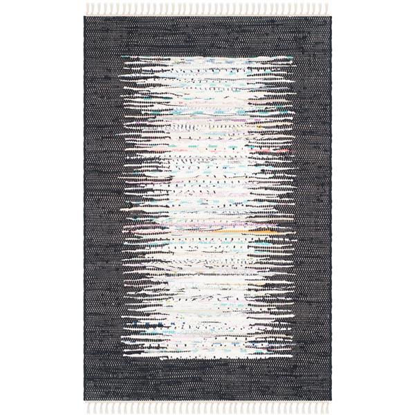 Safavieh Montauk Border Rug - 2.5' x 4' - Cotton - Ivory/Black