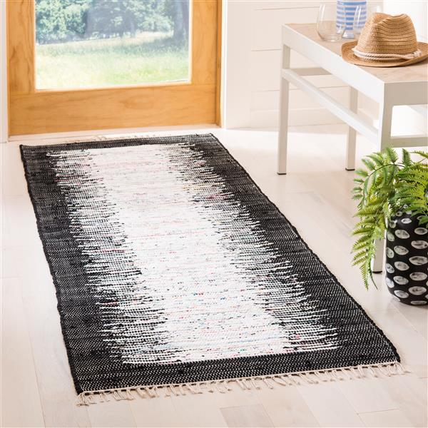 Safavieh Montauk Border Rug - 2.3' x 7' - Cotton - Ivory/Black