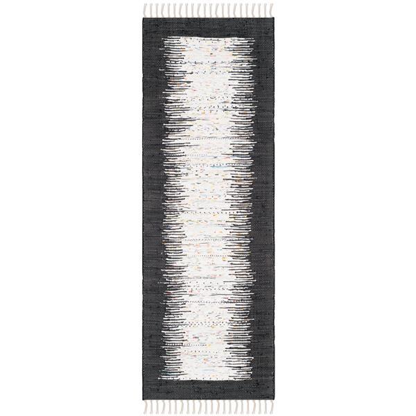 Safavieh Montauk Border Rug - 2.3' x 9' - Cotton - Ivory/Black