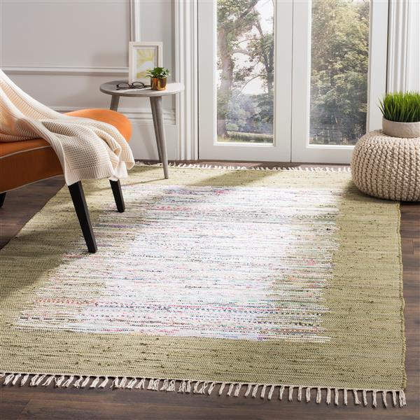 Safavieh Montauk Border Rug - 2.5' x 4' - Cotton - Ivory/Olive
