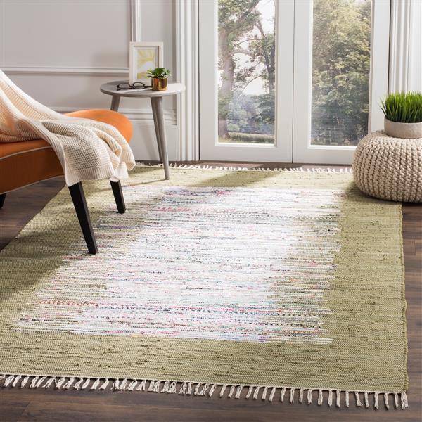 Safavieh Montauk Border Rug - 4' x 6' - Cotton - Ivory/Olive
