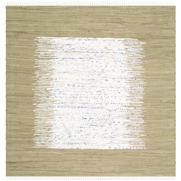 Safavieh Montauk Border Rug - 4' x 4' - Cotton - Ivory/Olive