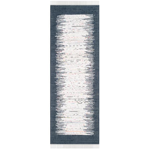 Safavieh Montauk Border Rug - 2.3' x 7' - Cotton - Ivory/Navy Blue