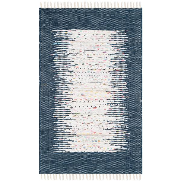 Safavieh Montauk Border Rug - 2.5' x 4' - Cotton - Ivory/Navy Blue