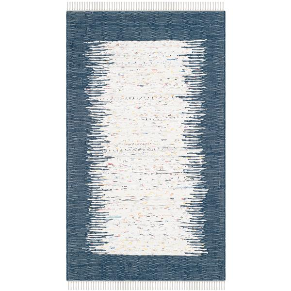 Safavieh Montauk Border Rug - 3' x 5' - Cotton - Ivory/Navy Blue