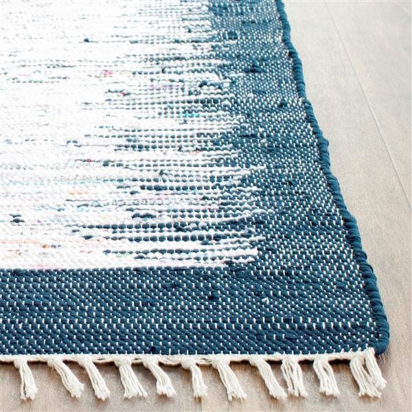 Safavieh Montauk Border Rug - 4' x 4' - Cotton - Ivory/Navy Blue