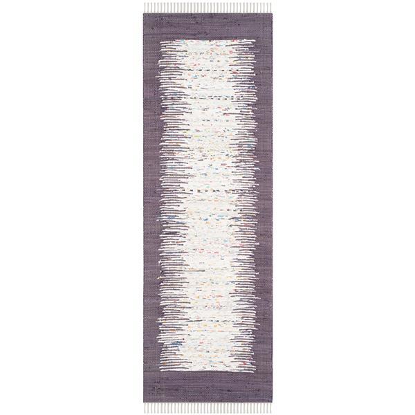 Safavieh Montauk Border Rug - 2.3' x 7' - Cotton - Ivory/Purple