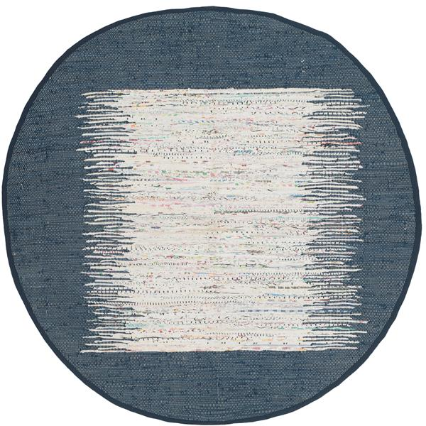 Safavieh Montauk Border Rug - 6' x 6' - Cotton - Ivory/Navy Blue