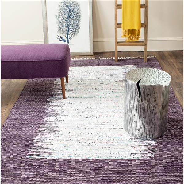 Safavieh Montauk Border Rug - 6' x 6' - Cotton - Ivory/Purple