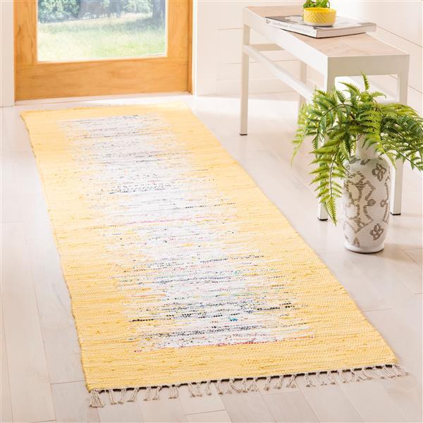 Safavieh Montauk Border Rug - 2.3' x 8' - Cotton - Ivory/Yellow