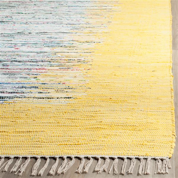 Safavieh Montauk Border Rug - 4' x 4' - Cotton - Ivory/Yellow