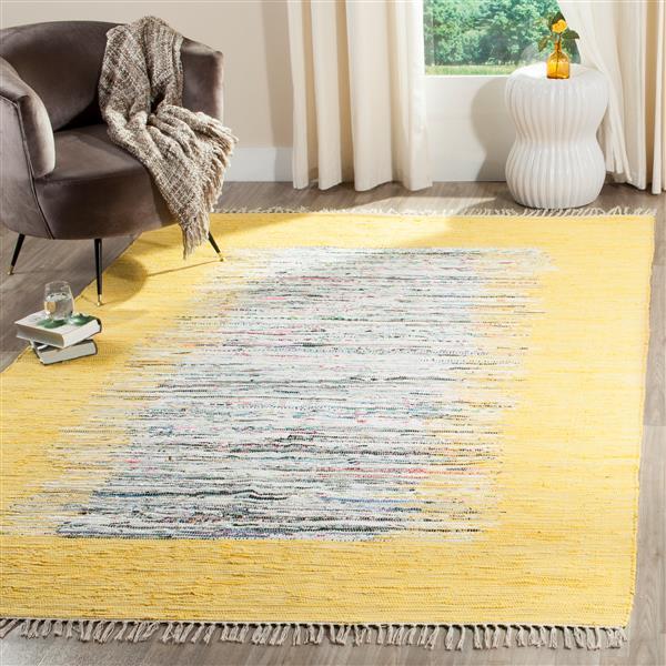 Safavieh Montauk Border Rug - 4' x 6' - Cotton - Ivory/Yellow