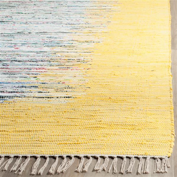 Safavieh Montauk Border Rug - 6' x 6' - Cotton - Ivory/Yellow
