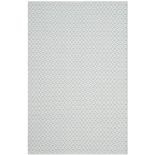 Safavieh Montauk Geometric Rug - 4' x 6' - Cotton - Ivory/Light Blue