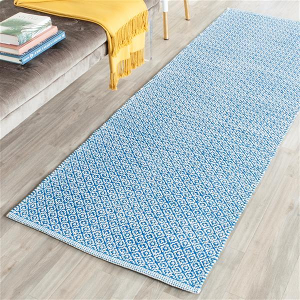 Safavieh Montauk Geometric Rug - 2.3' x 7' - Cotton - Ivory/Blue