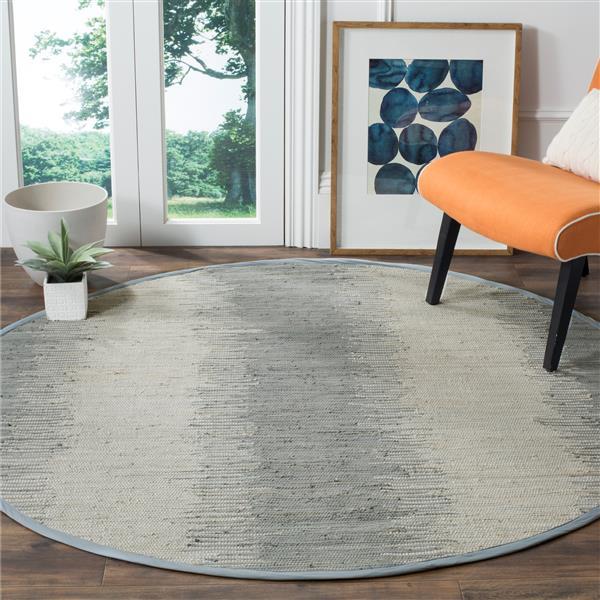 Safavieh Montauk Stripe Rug - 6' x 6' - Cotton - Gray