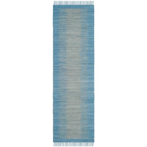 Safavieh Montauk Stripe Rug - 2.3' x 7' - Cotton - Light Blue