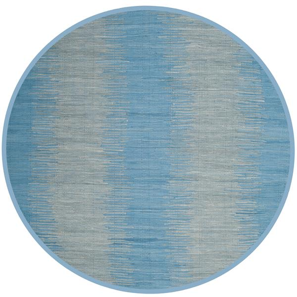 Safavieh Montauk Stripe Rug - 6' x 6' - Cotton - Light Blue
