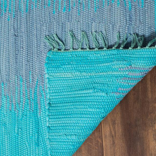 Safavieh Montauk Stripe Rug - 6' x 6' - Cotton - Turquoise