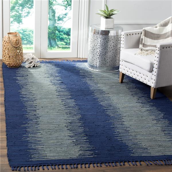 Safavieh Montauk Stripe Rug - 2.5' x 4' - Cotton - Navy Blue