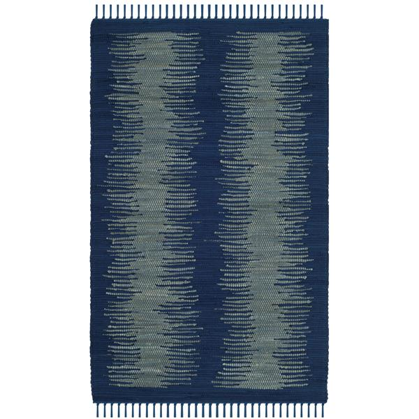 Safavieh Montauk Stripe Rug - 3' x 5' - Cotton - Navy Blue