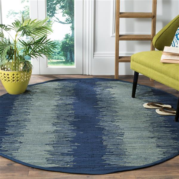 Safavieh Montauk Stripe Rug - 6' x 6' - Cotton - Navy Blue