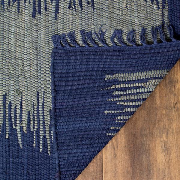 Safavieh Montauk Stripe Rug - 6' x 6' - Cotton - Navy Blue