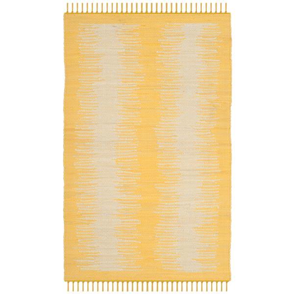 Safavieh Montauk Stripe Rug - 2.5' x 4' - Cotton - Gold