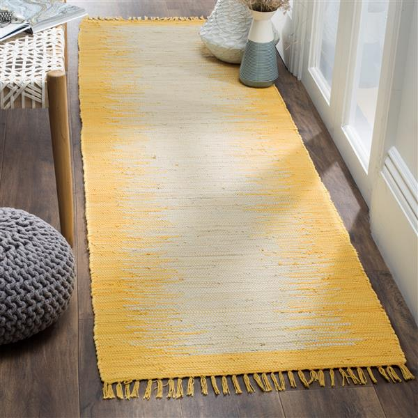 Safavieh Montauk Stripe Rug - 2.3' x 7' - Cotton - Gold
