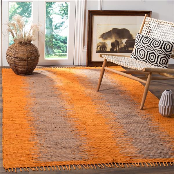 Safavieh Montauk Stripe Rug - 4' x 6' - Cotton - Orange