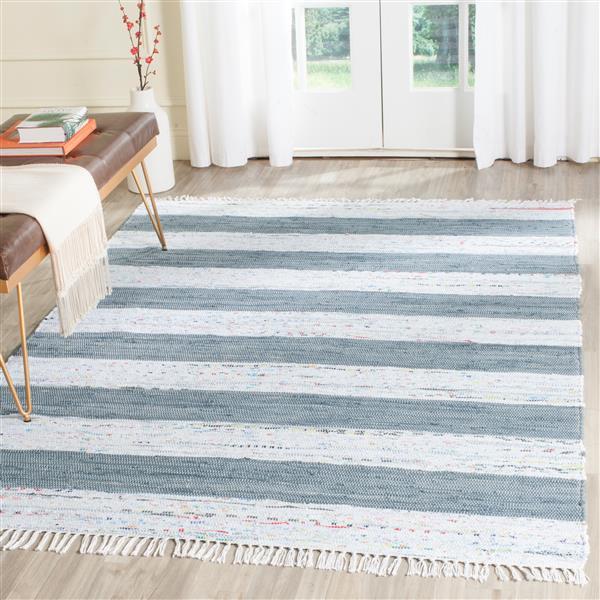 Safavieh Montauk Stripe Rug - 4' x 6' - Cotton - Ivory/Gray