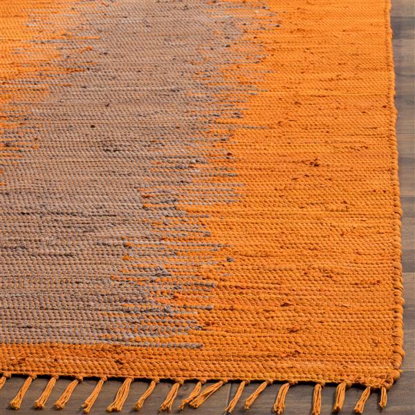 Safavieh Montauk Stripe Rug - 6' x 6' - Cotton - Orange