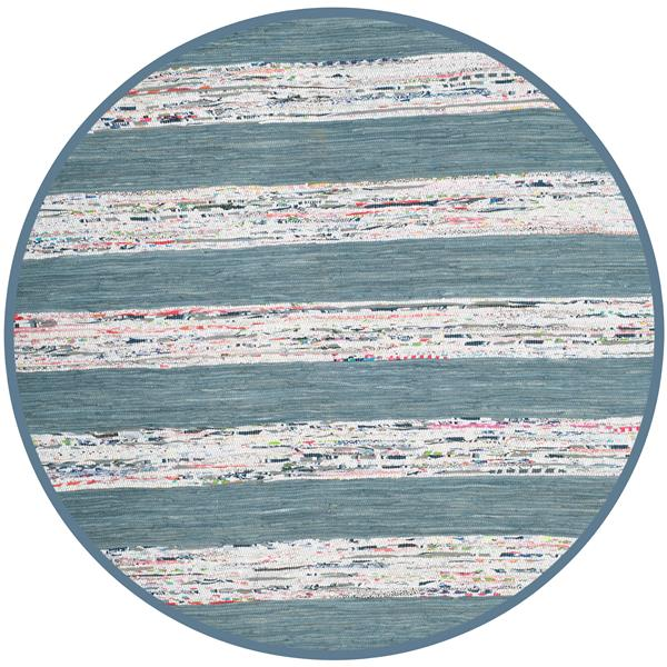 Safavieh Montauk Stripe Rug - 6' x 6' - Cotton - Ivory/Gray