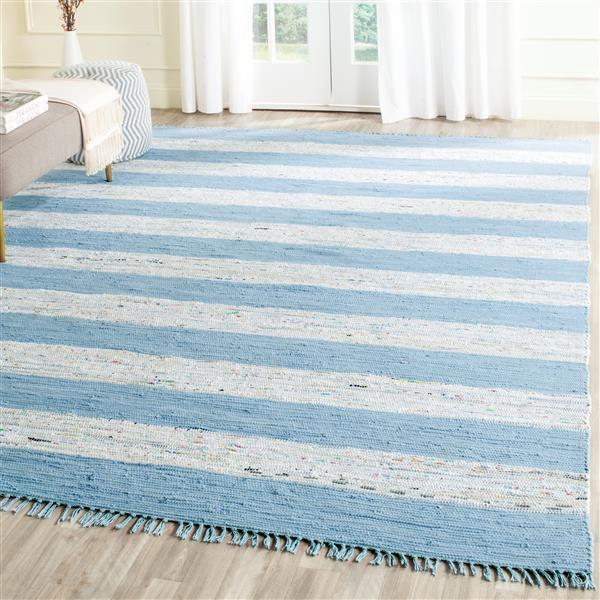 Safavieh Montauk Stripe Rug - 5' x 7' - Cotton - Ivory/Turquoise
