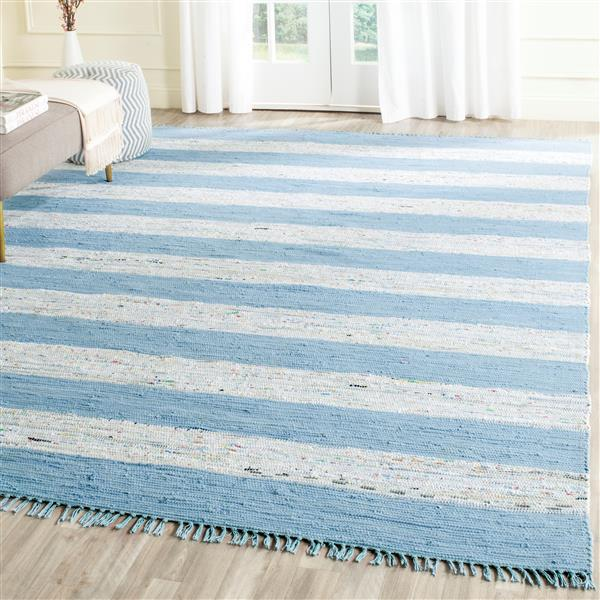 Safavieh Montauk Stripe Rug - 4' x 6' - Cotton - Ivory/Turquoise