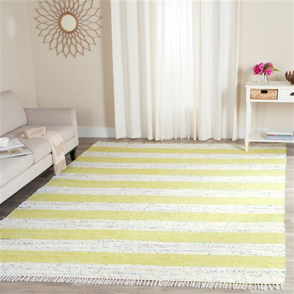 Safavieh Montauk Stripe Rug - 2.3' x 3.8' - Cotton - Ivory/Green
