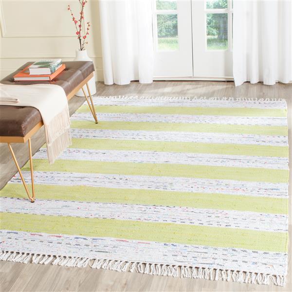 Safavieh Montauk Stripe Rug - 5' x 7' - Cotton - Ivory/Light Green