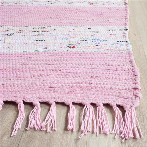 Safavieh Montauk Stripe Rug - 2.3' x 7' - Cotton - Ivory/Light Pink