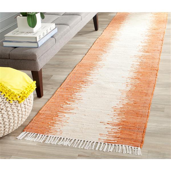 Safavieh Montauk Stripe Rug - 2.3' x 9' - Cotton - Orange