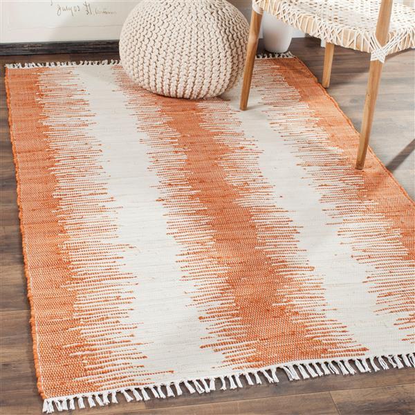 Safavieh Montauk Stripe Rug - 3' x 5' - Cotton - Orange