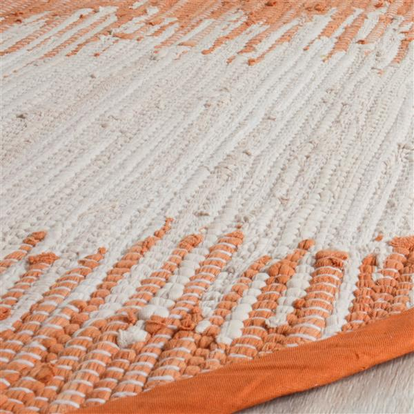 Safavieh Montauk Stripe Rug - 6' x 6' - Cotton - Orange