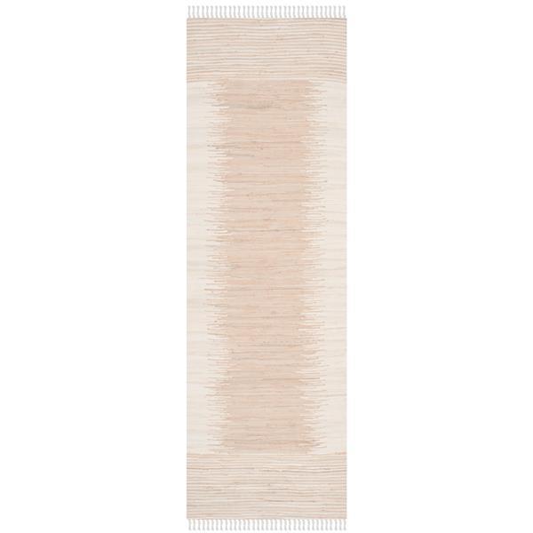 Safavieh Montauk Stripe Rug - 2.3' x 7' - Cotton - Beige