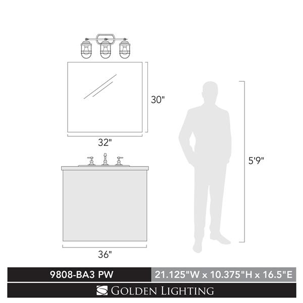 Golden Lighting Seaport 3-Light Bathroom Vanity Light - Silver