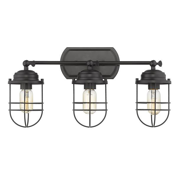 Golden Lighting Seaport 3-Light Bathroom Vanity Light - Black
