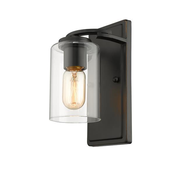 Golden Lighting Monroe 1-Light Wall Sconce Light - Black/Gold