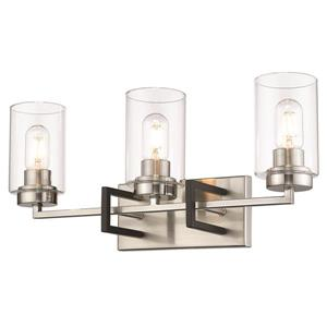 Tribeca 3-Light Bathroom Vanity Light - Pewter/Black