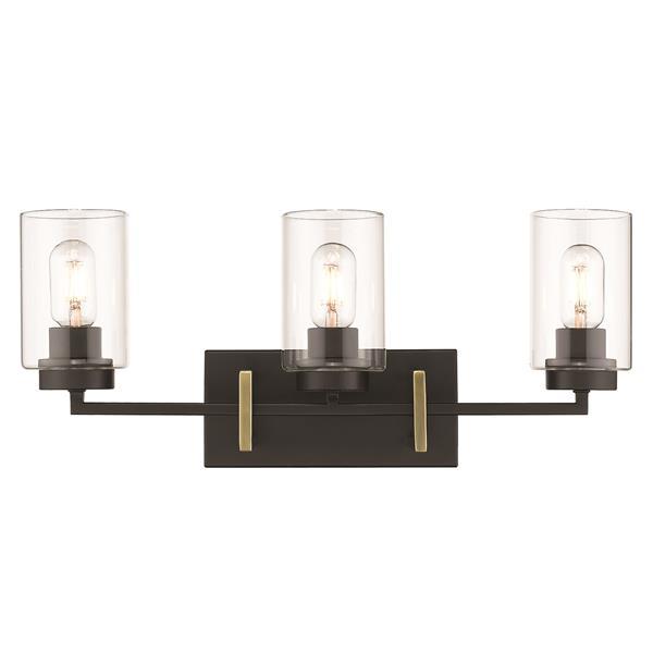 Golden Lighting Tribeca 3-Light Bathroom Vanity Light - Black/Aged Brass