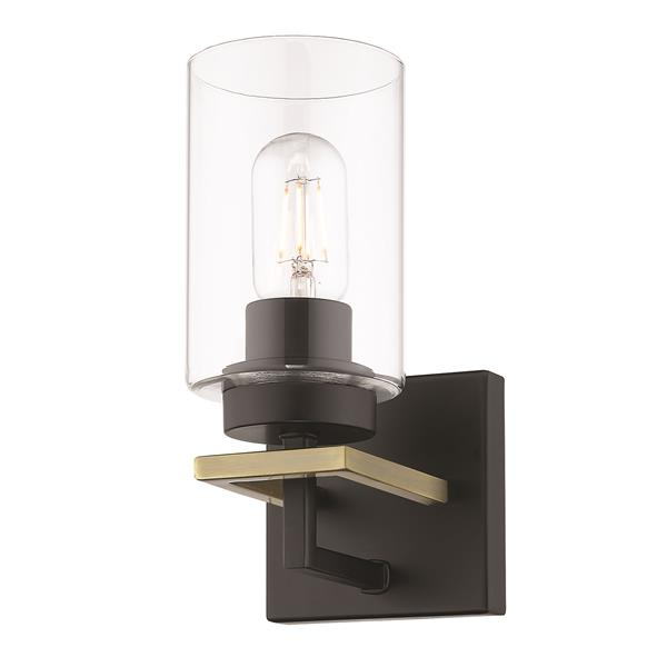 Golden Lighting Tribeca 1 Light Bathroom Vanity Light Black Aged Brass Rona