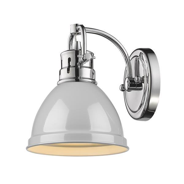 Golden Lighting Duncan 1-Light Bathroom Vanity Light - Chrome/Grey